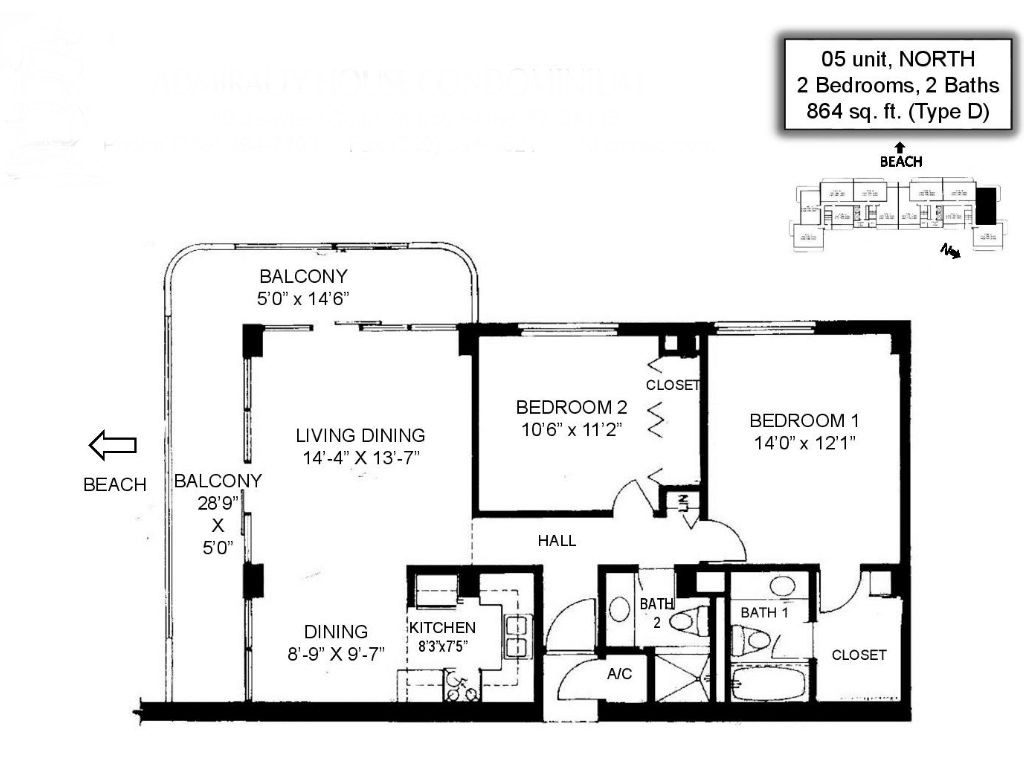 Floor Plans of the Admiralty House - Admiralty House - Marco Island, FL